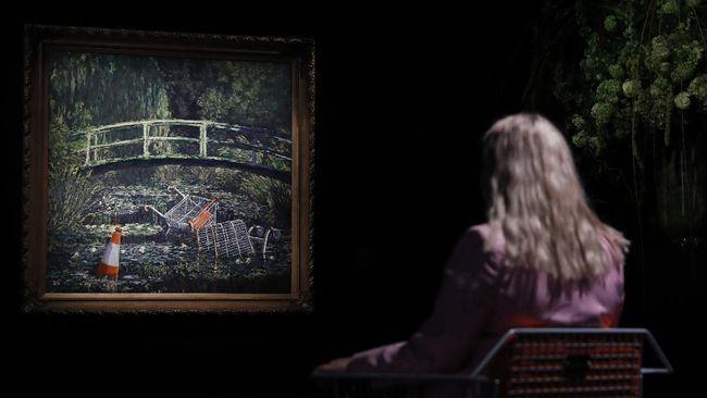 Karya lukisan Banksy berupa penggambaran ulang lukisan mahakarya Claude Monet telah terjual US$9,8 juta atau lebih dari Rp146 miliar.