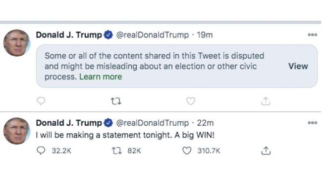 Twitter menandai kicauan capres AS Donald Trump tentang adanya upaya mencuri suara pemilu sebagai konten menyesatkan.