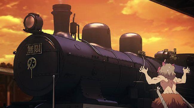 Sebuah lokomotif uap yang terinspirasi oleh kereta api dalam film animasi dari serial manga populer