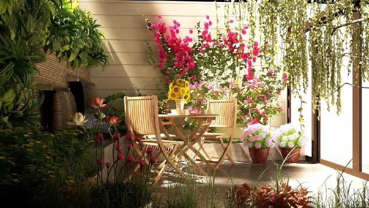 3d render miniature garden, blacony concept.