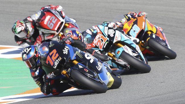 Jorge Martin menang Moto2 Valencia 2020, Minggu (15/11), secara dramatis dengan mengalahkan Hector Garzo dan Marco Bezzecchi.
