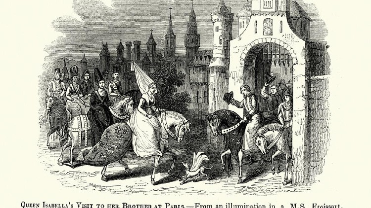 Vintage engraving of a scene from Froissart's Chronicles. Queen Isabella's visit to her Brother ar Paris. Isabella of France (1295 to 22 August 1358), sometimes described as the She-Wolf of France, was Queen of England as the wife of Edward II.