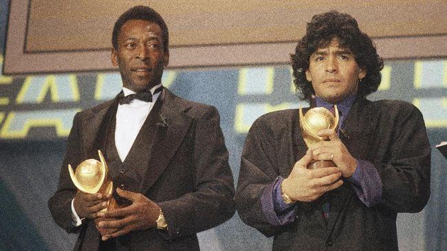 Legenda Brasil, Pele belum bisa melupakan Diego Maradona setelah tujuh hari kematian sang legenda dengan menuliskan pesan emosional.
