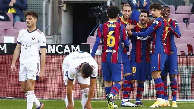 Barcelona menang telak 4-0 atas Osasuna dalam pertandingan pekan ke-11 Liga Spanyol di Stadion Camp Nou, Minggu (29/11).