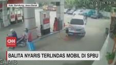 VIDEO: Viral Bocah Nyaris Terlindas Mobil di SPBU