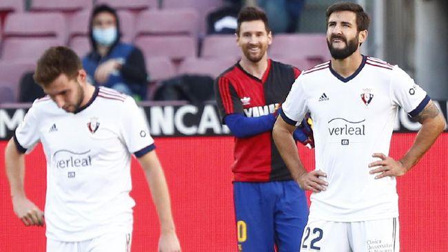 Lionel Messi melakukan selebrasi gol saat melawan Osasuna yang dinilai telah melanggar Pasal 91 Kode Disiplin RFEF.