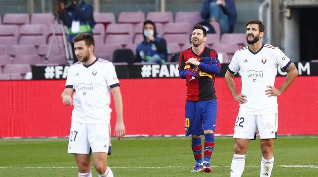 Selebrasi Lionel Messi saat merayakan gol ke gawang Osasuna menimbulkan polemik baru di Barcelona.