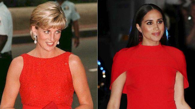 Meski terpaut generasi ke generasi yang berbeda, Putri Diana dan Meghan Markle dinilai memiliki kesamaan dalam gaya berbusana.