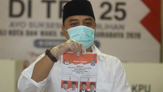 Pasangan calon Eri Cahyadi-Armuji unggul sementara dari pasangan Machfud Arifin-Mujiaman Sukirno dalam hitung cepat Charta Politika.