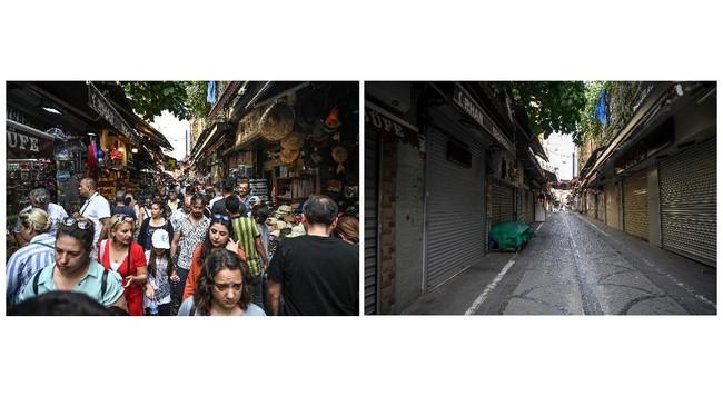 Foto-foto dalam galeri ini menunjukkan pemandangan sebelum dan selama pandemi Covid-19 melanda desintasi wisata di penjuru dunia.