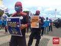 Hendak Menuju MK, Pedemo Omnibus Law Diadang Kawat Berduri