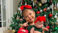 <p>Si imut Yaya, nampak bergaya bersama boneka kesayangannya di depan pohon Natal raksasa. Gemas ya lihat posenya.</p>