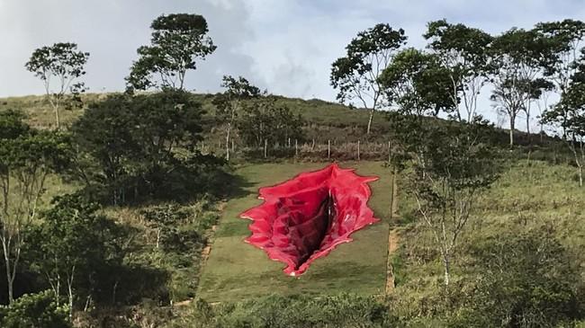 Patung vagina raksasa di negara bagian Pernambuco, Brasil, menuai kontroversi, berikut penampakan karya seniman feminis Juliana Notari.