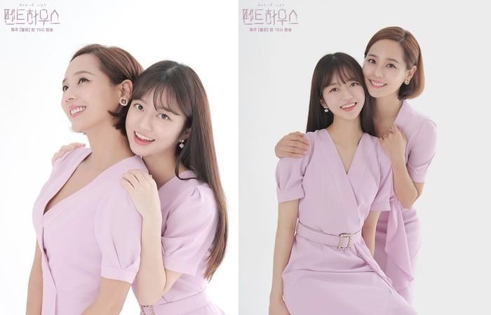 Dress senada warna merah muda dan latar putih menampilkan kesan ceria. Ditambah dengan wajah sumringah dan senyum ceria dari tokoh Eugene dan Kim Hyun Soo.Sumber/Instagram/sbsdrama.official.