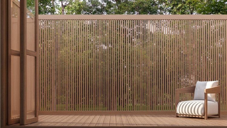 Wood terrace with nature view 3d render,Surrounded by the nature.There are wooden floor and wall slats partition.There have the sunlight into the floor.