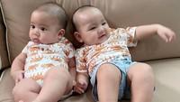 <p>Apalagi dalam potret berikut, kedua bayi menggemaskan dengan pakaian bermotif sama ini seperti bayi kembar, nih. Bunda setuju? (Foto: Instagram @cutratumeyriska)</p>