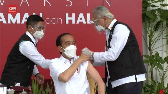 Presiden Jokowi menargetkan 700 ribu vaksinasi Covid-19 per hari pada Juni dan 1 juta penyuntikan per hari