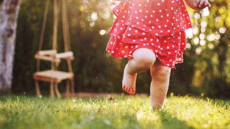 little girl's bare feet in the grass. little girl running  at sunset little girl's bare feet in the grass. little girl running  at sunset