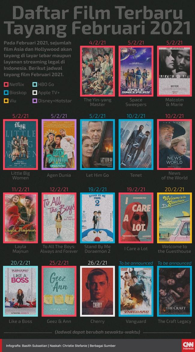 Pada Februari 2021, sejumlah film Asia dan Hollywood akan tayang di layar lebar maupun layanan streaming legal di Indonesia.