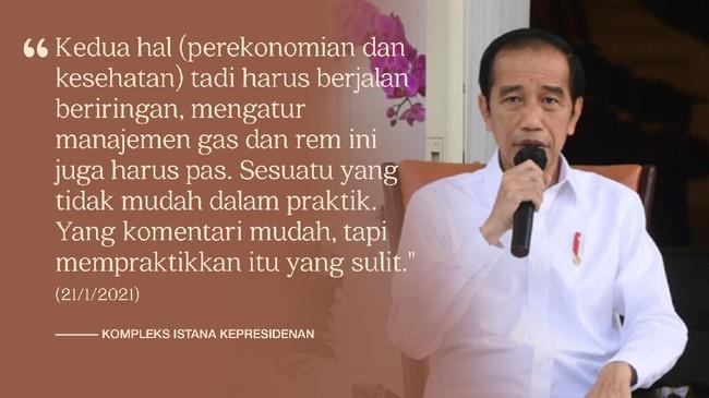Sejak pandemi Covid melanda Indonesia pada Maret 2020, Presiden Jokowi menelurkan sejumlah kebijakan dari pembatasan sampai pelonggaran dalam penanggulangannya.