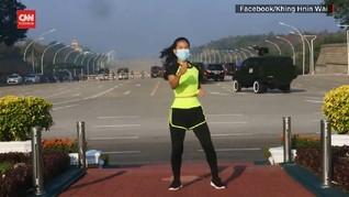 VIDEO: Viral Senam Aerobik di Tengah Kudeta Myanmar