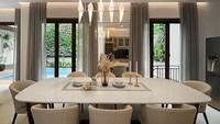 <p>Ruang makan tampak begitu luas dan menghadap ke arah kolam renang. (Foto: Instagram @rogerojey)</p>