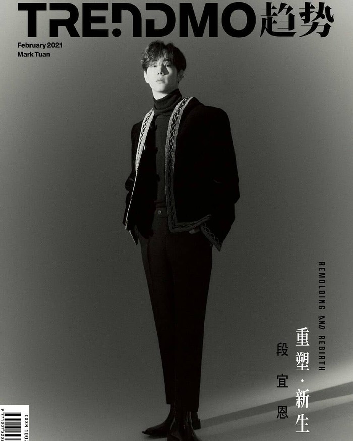 Sebagai cover utama Majalah Trendmo, Mark sangat cocok menggunakan pakaian serba hitam.(Foto: weibo.com/Trendmo趋势)