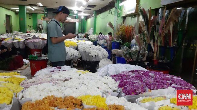 Wangi bunga di Pasar Bunga Rawa Belong, Jakarta Barat tak seharum penjualannya pada perayaan Hari Valentine tahun ini.