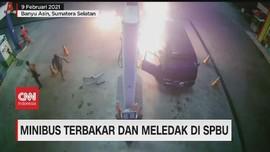 VIDEO: Minibus Terbakar dan Meledak di SPBU