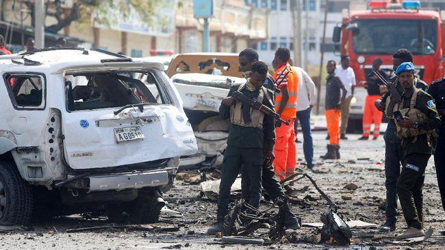 Sebanyak delapan orang meninggal dalam serangan bom bunuh diri di Ibu Kota Mogadishu, Somalia, Sabtu (10/7).