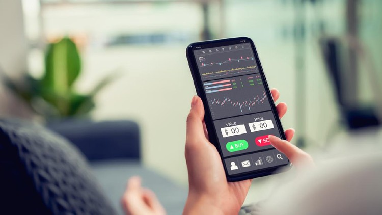 Stock exchange market concept, businesswoman trader looking on smartphone with graphs analysis candle line on sofa in house, diagrams on screen.