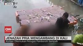 VIDEO: Jenazah Pria Mengambang di Kali, Keluarga Histeris