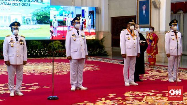 Presiden Jokowi melantik pasangan gubernur dan wakil gubernur Sulawesi Utara dan Kalimantan Utara, hasil Pilkada 2020.