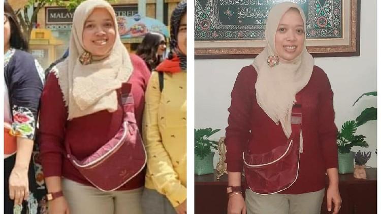 Perbandingan tubuh Ayi Yuliani sebelum dan sesudah diet