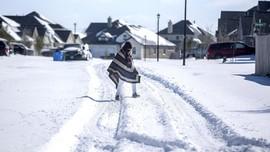 FOTO: Badai Salju di Texas Putus Pasokan Listrik Jutaan Rumah