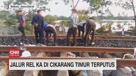 VIDEO: Jalur Rel KA di Cikarang Timur Terputus