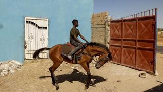 FOTO: Mimpi Pembalap Kuda Termuda di Senegal