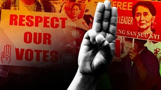 Gelombang Demo Antikudeta Myanmar