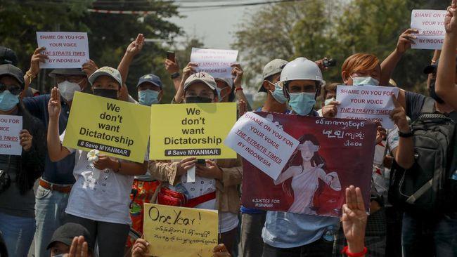 Kedutaan Besar Thailand di Yangon didemo karena pemimpin negara itu menemui menteri luar negeri junta militer Myanmar.