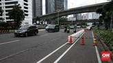 Jalur sepeda permanen sepanjang 11, 2 kilometer di Jalan Sudirman-Thamrin di DKI Jakarta ditargetkan rampung Maret 2021.