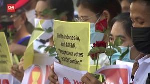 VIDEO: KBRI Bangkok Didemo Terkait Myanmar