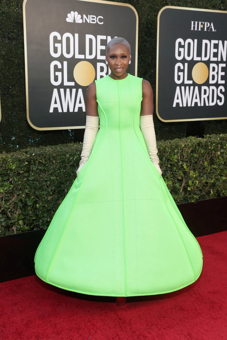 Actor Cynthia Erivo poses in this handout photo from the 78th Annual Golden Globe Awards in Beverly Hills, California, U.S., February 28, 2021. Todd Williamson/NBC Handout via REUTERS ATTENTION EDITORS - THIS IMAGE HAS BEEN SUPPLIED BY A THIRD PARTY. NO RESALES. NO ARCHIVES.