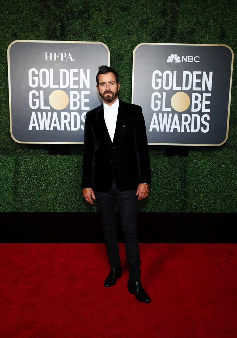 Actor Justin Theroux poses in this handout photo from the 78th Annual Golden Globe Awards in New York, New York State, U.S., February 28, 2021. Cindy Ord/NBC Handout via REUTERS ATTENTION EDITORS - THIS IMAGE HAS BEEN SUPPLIED BY A THIRD PARTY. NO RESALES. NO ARCHIVES.