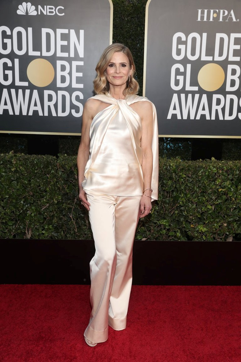 Actor Kyra Sedgwick poses on the red carpet in this handout photo from the 78th Annual Golden Globe Awards in Beverly Hills, California, U.S., February 28, 2021. Todd Williamson/NBC Handout via REUTERS ATTENTION EDITORS - THIS IMAGE HAS BEEN SUPPLIED BY A THIRD PARTY. NO RESALES. NO ARCHIVES.