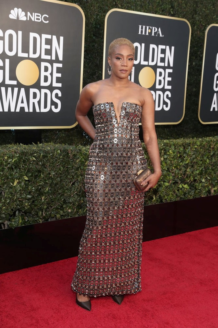 Actor Tiffany Haddish poses on the red carpet in this handout photo from the 78th Annual Golden Globe Awards in Beverly Hills, California, U.S., February 28, 2021. Todd Williamson/NBC Handout via REUTERS ATTENTION EDITORS - THIS IMAGE HAS BEEN SUPPLIED BY A THIRD PARTY. NO RESALES. NO ARCHIVES.