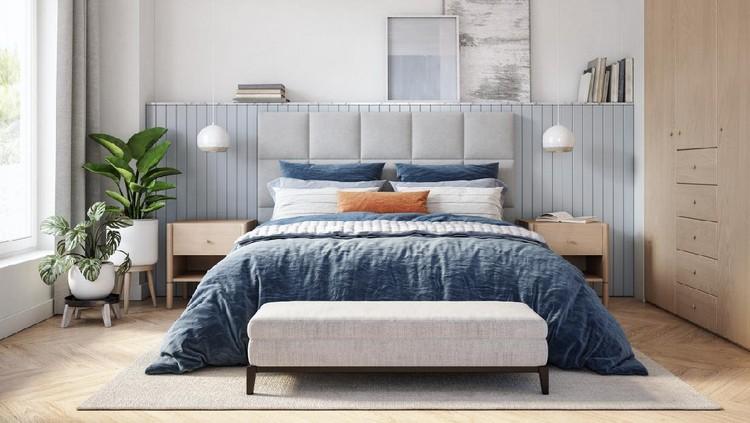 Bedroom interior with wooden furniture, 3d render