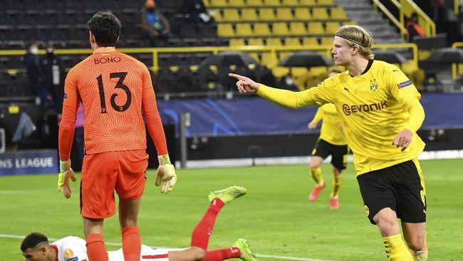 Erling Haaland yang menjadi bomber andalan Borussia Dortmund belum pernah mencetak gol di perempat final Liga Champions.