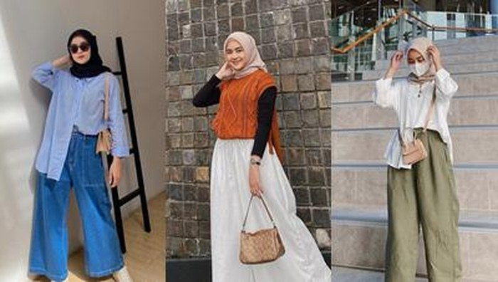 Mix and Match Wide Leg Trouser ala Seleb TikTok Cantik Alifhia Fitri