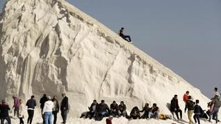 Viral Warga Mesir Main Ski di Bukit Garam