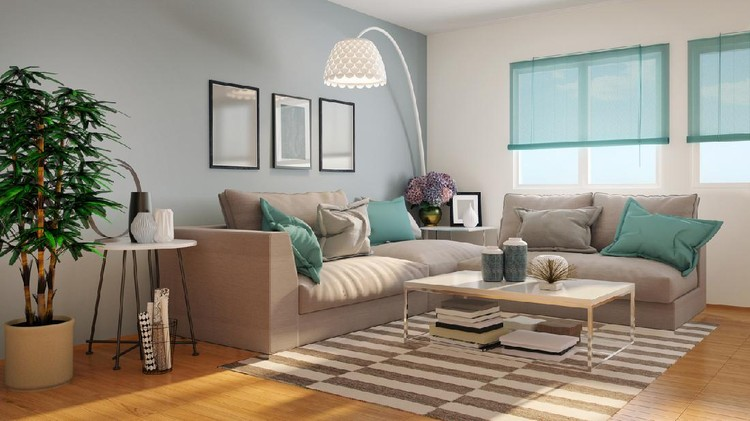 Picture of comfortable living room. Render image.